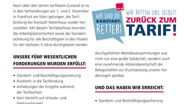 Information für die Beschäftigten von Karstadt Warenhaus (Dezember 2016)