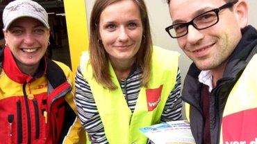 Ohne Tarifvertrag ist alles DOOF! Aktion bei DHL in Düsseldorf am 01.08.2016