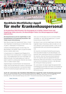 Nordrhein-Westfälischer Appell für mehr Krankenhauspersonal