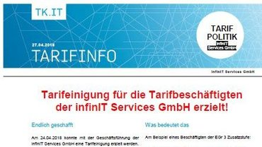 Tarifinfo infinIT April 2018 - Tarifeinigung - Teaser