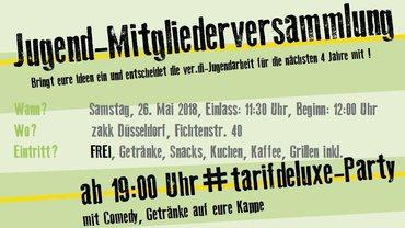 Einladung Mitgliederversammlung ver.di-Jugend Düssel-Rhein-Wupper am 16.05.2018 in Düsseldorf - Postkarte - Teaserformat