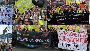 Unbezahlte Auszubildende bei Warnstreiks in Düsseldorf im Februar 2017, Frankfurt a.M., Mannheim, Nürnberg, Potsdam im Frühjahr 2018