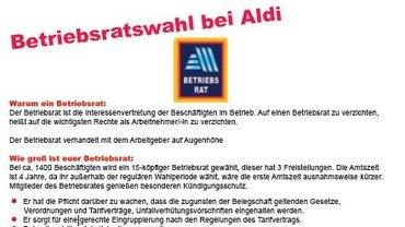Flugblatt Betriebsratswahl Aldi-Süd - Teaser