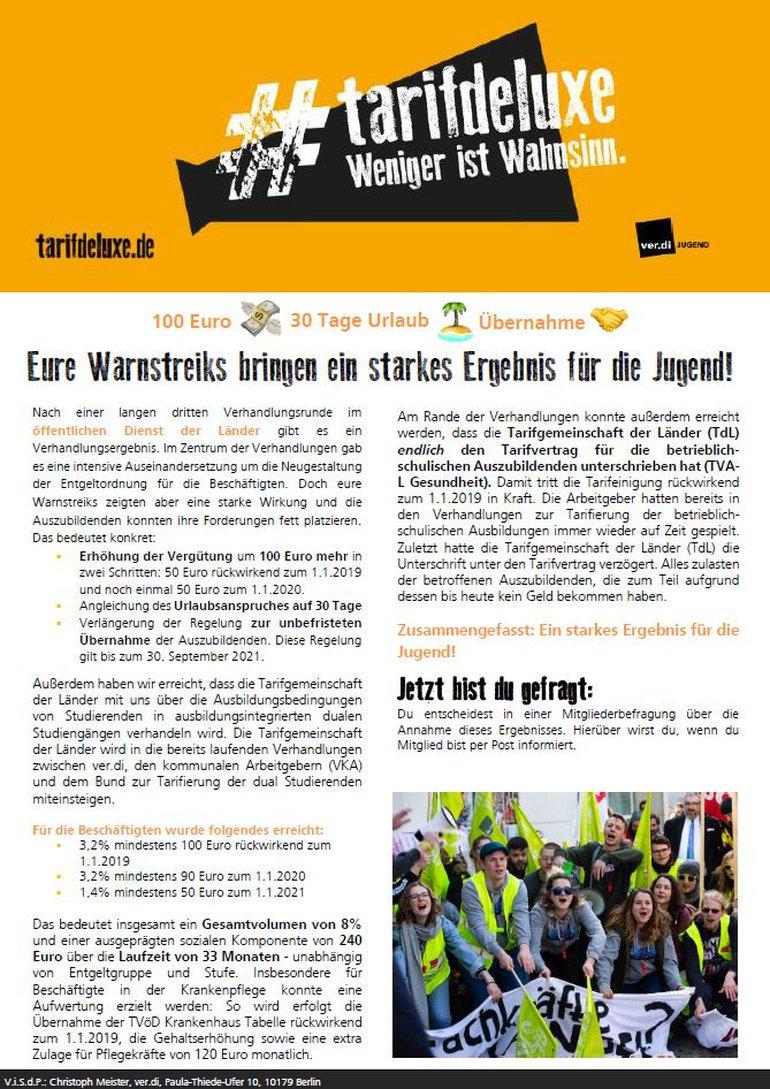 Flugblatt Jugend zum Verhandlungsergebnis TdL 2019