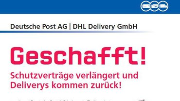 Plakat Schutzverträge verlängert und Deliverys kommen zurück! - Teaserformat