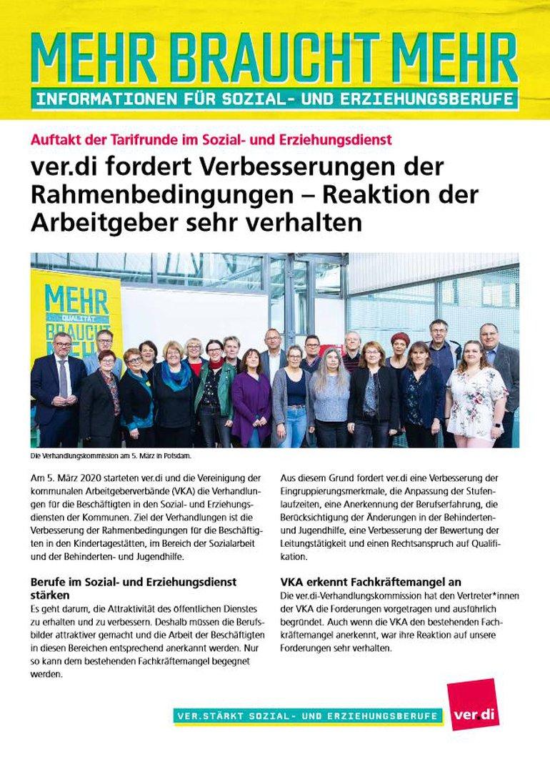 Flugblatt Auftakt Tarifrunde im Sozial- und Erziehungsdienst (05.03.2020) - Seite 1 von 2