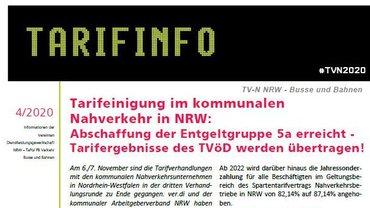 Flyer Verhandlungsergebnis TV Nahverkehr NRW - Teaserformat