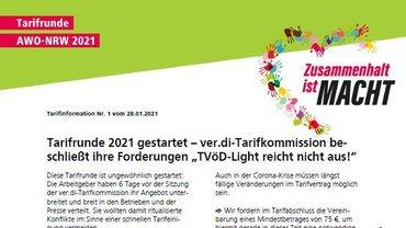 Flublatt 01 Tarifrunde AWO NRW 2021 - Teaser