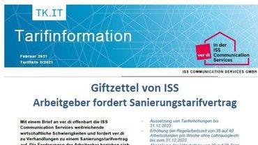 Tarifinfo ISS CS - Februar 2021 - Arbeitgeber fordert Sanierungstarifvertrag - Teaserformat