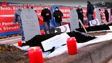 Mahnwache am Flughafen Düsseldorf - Startbild Video report-D